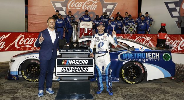 #5: Kyle Larson, Hendrick Motorsports, Chevrolet Camaro MetroTech celebrates with Charlotte Motor Speedway President and CEO Marcus Smith after winning the NASCAR Cup Series Coca-Cola 600 at Charlotte Motor Speedway in Concord, N.C., May 30, 2021.  (HHP/Harold Hinson)