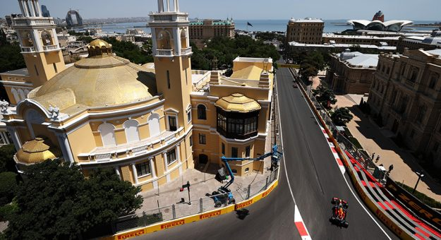 Sergio Perez navigates the streets of Baku Friday. (Clive Rose/Getty Images Photo)