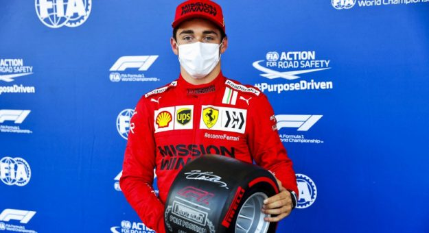 Charles Leclerc earned his second-straight Formula One pole Saturday at the Baku City Circuit.