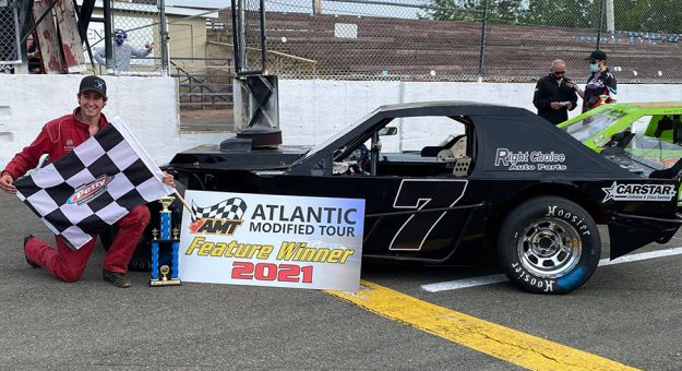 Travis Conroy won the Atlantic Modified Tour opener Saturday at Petty Int'l Raceway. (Brittany Hoyt Photo)