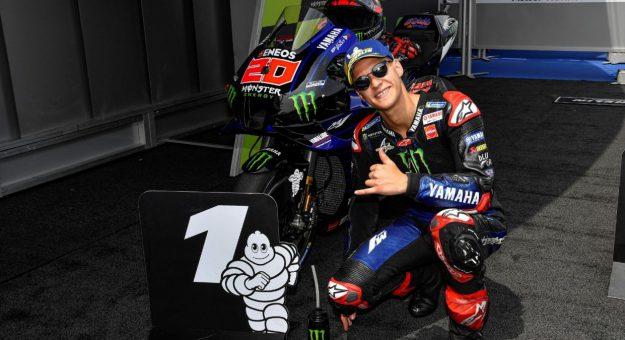 Fabio Quartararo earned his fifth-straight MotoGP pole on Saturday in Spain.