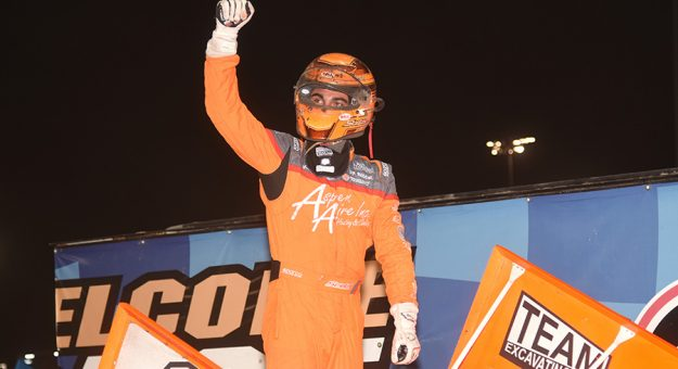 Gio Scelzi in victory lane Saturday at Knoxville Raceway. (Paul Arch Photo)