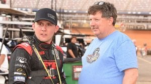 Devin Moran (left) with his father, Donnie Moran, at Bristol Motor Speedway. (Paul Arch Photo)