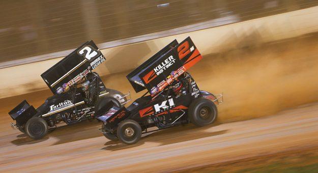 Carson Macedo (2) and Kerry Madsen (2m) last November at The Dirt Track at Charlotte. (Adam Fenwick Photo)