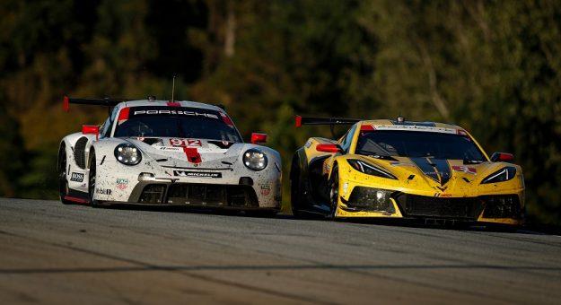 #912 Porsche GT Team Porsche 911 RSR - 19, GTLM: Laurens Vanthoor, Earl Bamber, Mathieu Jaminet, #3 Corvette Racing Corvette C8.R, GTLM: Antonio Garcia, Jordan Taylor, Nicky Catsburg