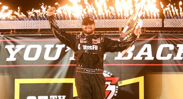 Brandon Overton won the first of two features on night one of the Dirt Late Model Dream on Thursday. (Paul Arch Photo)