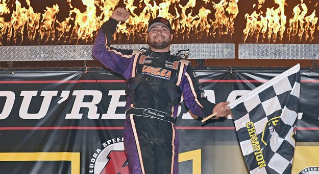 Brandon Overton earned his first victory in the Dirt Late Model Dream on Thursday evening. (Mike Campbell Photo)