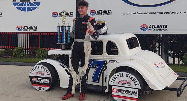 Graham Campbell in victory lane Thursday at Atlanta Motor Speedway.