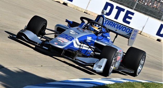 Kyle Kirkwood won Saturday's Indy Lights race in Detroit, Mich. (Al Steinberg Photo)