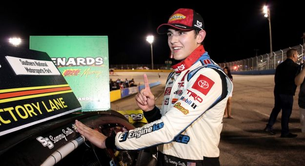 Sammy Smith, driver of the No. 18 Engine Ice Toyota, celebrates after winning the Southern National 200 for the ARCA Menards Series East at Southern National Motorsports Park in Lucama, North Carolina, on June 12, 2021. (Veasey Conway/ARCA Racing)