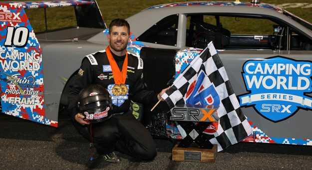 Doug Coby became the first winner in the history of the Camping World SRX Series Saturday at Stafford Motor Speedway.
