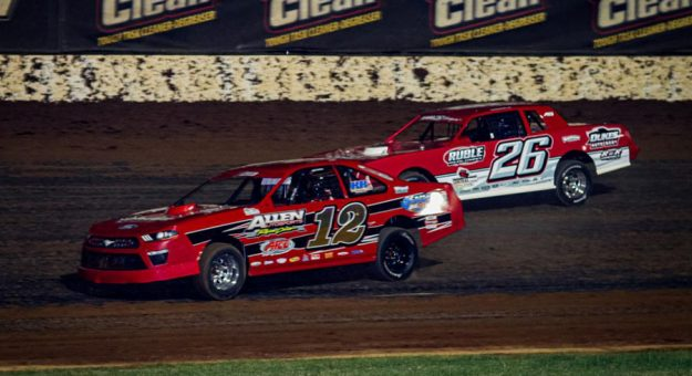 Scotty Allen (12) drove to the USRA Stock Cars feature win, headlining Saturday night's Big Adventure RV Weekly Racing Series Midseason Championship program at Lucas Oil Speedway. (GS Stanek Racing Photography)