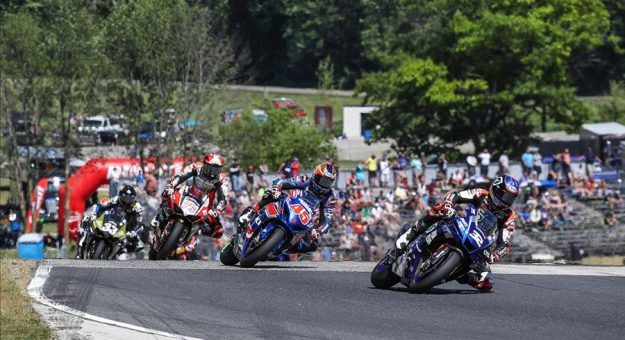 Jake Gagne (32) was unstoppable again at Road America as he won his fifth straight HONOS Superbike race on Sunday over Cameron Petersen (45). (Brian J. Nelson Photo)