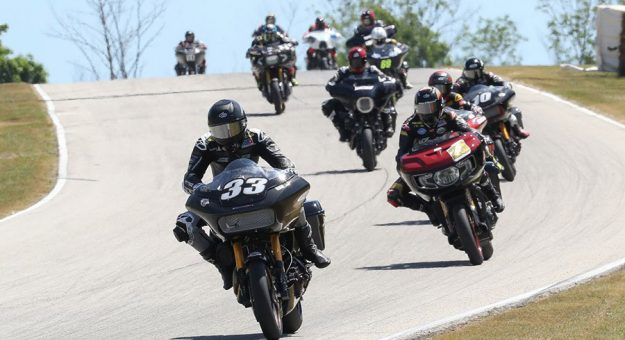 Kyle Wyman (33) leads Tyler O'Hara and the rest of the pack in the Mission King Of The Baggers race on Sunday at Road America. (Brian J. Nelson Photo)