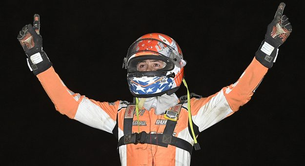 Kyle Larson won Monday's Ohio Sprint Speedweek feature at Wayne County Speedway. (Mike Campbell Photo)