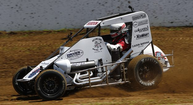 Jeff Gordon behind the wheel of a Clauson Marshall Racing midget car Thursday at The Dirt Track at Indianapolis Motor Speedway. (IMS photo)