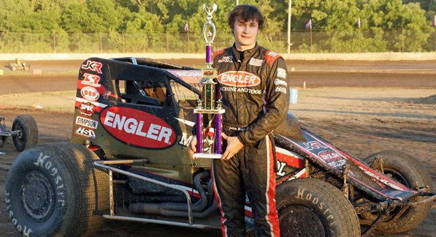 Jason Rogers won the non-winged 410 sprint car feature at Plymouth Speedway Wednesday. (Gary Gasper Photo)