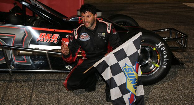 Keith Rocco celebrates his victory in the Nutmeg State 75 presented by Twisted Tea at Thompson Speedway Motorsports Park. (Alan Ward photo)