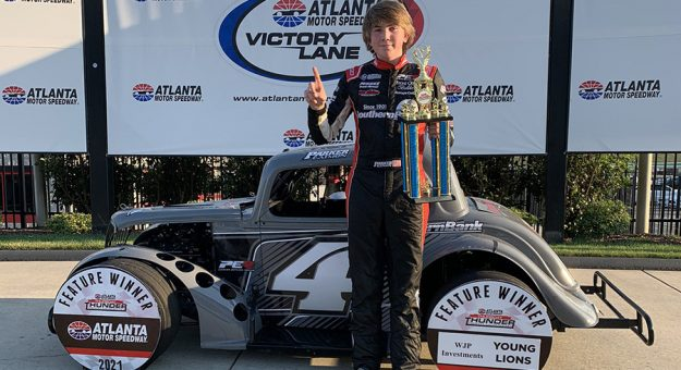 Parker Eatmon won the Young Lions feature Wednesday at Atlanta Motor Speedway.