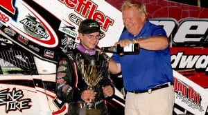 Freddie Rahmer (left) in victory lane at Grandview Speedway with Thunder on the Hill promoter Bob Miller. (Dan Demarco Photo)