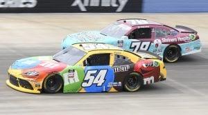 #54: Kyle Busch, Joe Gibbs Racing, Toyota Supra M&M's, #78: Jesse Little, B.J. McLeod Motorsports, Chevrolet Camaro Shriners Hospitals 4 Children