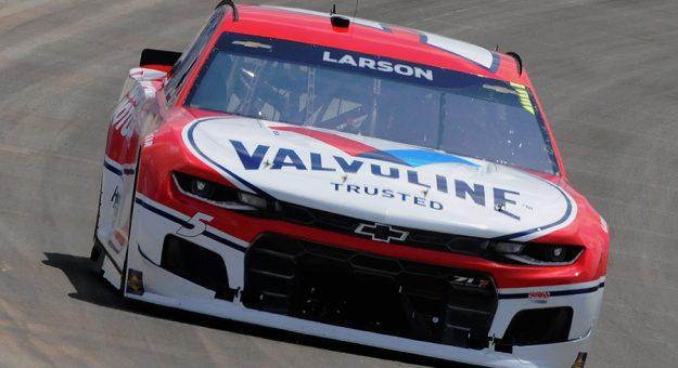Kyle Larson dominated Sunday's NASCAR Cup Series debut at Nashville Superspeedway. (Dave Moulthrop Photo)