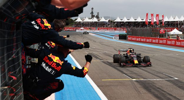 Max Verstappen heads to the finish line to win Sunday's French Grand Prix. (Mark Thompson/Getty Images Photo)