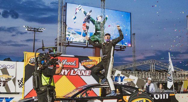 Daniel Silvestri celebrates his first CARS Late Model Stock Tour triumph Saturday at Dominion Raceway.