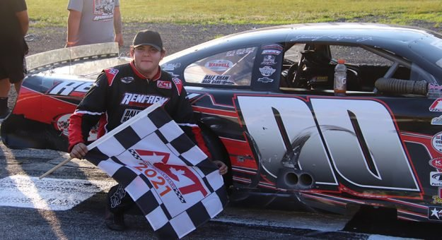Jimmy Renfrew Jr. became the first straight first-time winner in ACT Late Model Tour competition with his Hudson Speedway victory. (Daniel Holben photo)