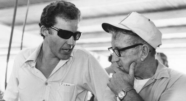 1974:  Veteran car owner Junie Donlavey chats with Richard Petty.  (Photo by ISC Archives via Getty Images)