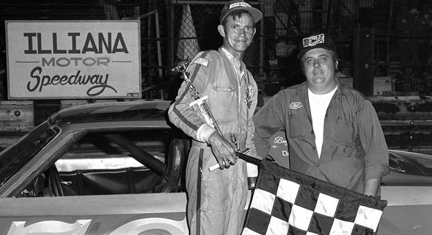 Car owner Bill Hahnlein (right) and driver Bob Dotter after their 100-lap ARCA win at Illiana Motor Speedway in Schererville, Ind., in 1978. (Stan Kalwasinski Photo)