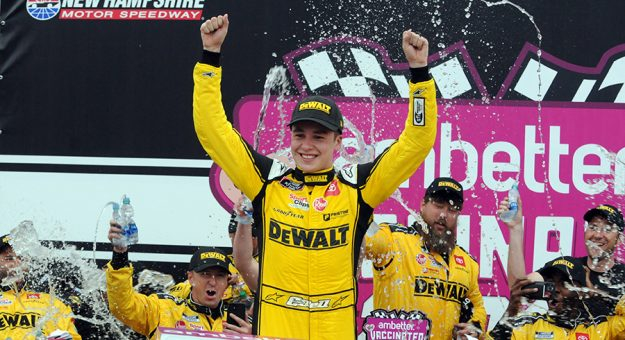 Christopher Bell celebrates in victory lane Saturday at New Hampshire Motor Speedway. (Dave Moulthrop Photo)