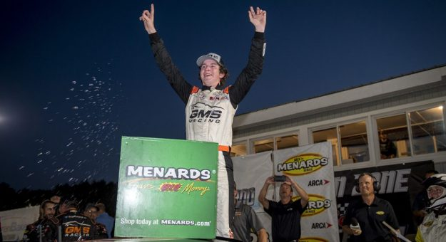 Daniel Dye, driver of the No. 21 GMS Racing Chevrolet, celebrates winning the Zinsser SmartCoat 200 for the ARCA Menards Series at Berlin Raceway in Marne, Michigan, on July 17, 2021. (Nic Antaya/ARCA Racing)