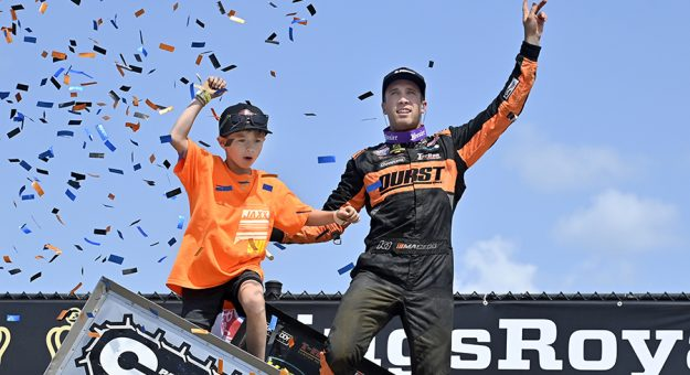 Carson Macedo celebrates his victory Sunday afternoon at Eldora Speedway. (Mike Campbell Photo)