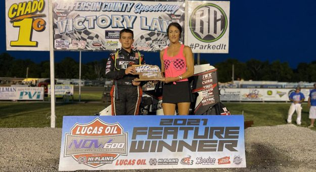 Gavin Miller in victory lane at Jefferson County Speedway.