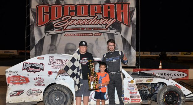 Chaz Baca poses in victory lane at Cocopah Speedway after a recent victory at the Arizona track. (Bobby McMorris Photo)