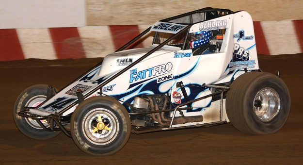 Ryan Zielski and his No. 14 on their way to victory in the Wisconsin WingLESS Sprints feature race Sunday night at Wisconsin's Angell Park Speedway. (Stan Kalwasinski Photo)
