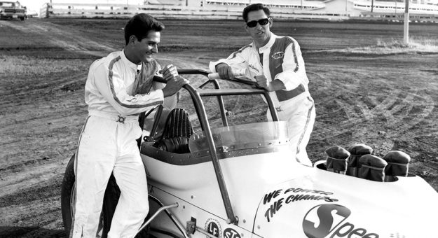 Joe Saldana (left) and Thad Dosher at Knoxville Raceway in 1967. (NSSN Archives)