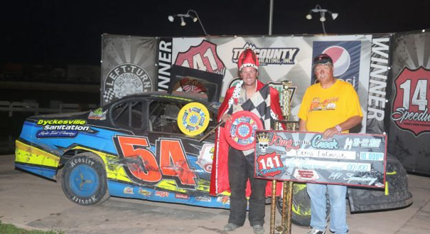 Benji LaCrosse led the most important lap in repeating as winner 141 Speedway's King of the Creek main event. The IMCA Sunoco Stock Car checkers were good for $10,000. (Dan Lewis Photography Photo)