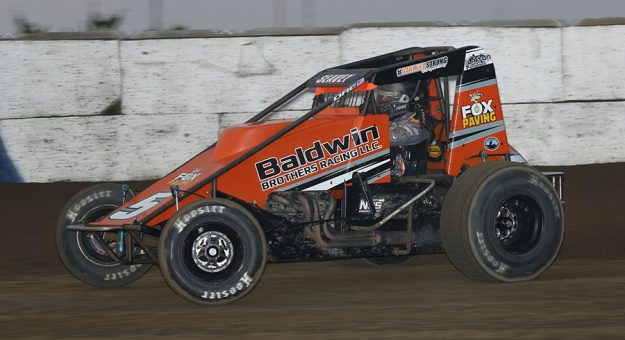 Logan Seavey on his way to victory Wednesday at the Terre Haute Action Track. (Neil Cavanah photo)