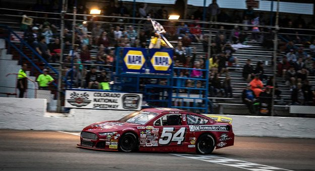 Joey Iest takes the checkered flag at Colorado National Speedway. (Chet Strange/ARCA Racing Photo)