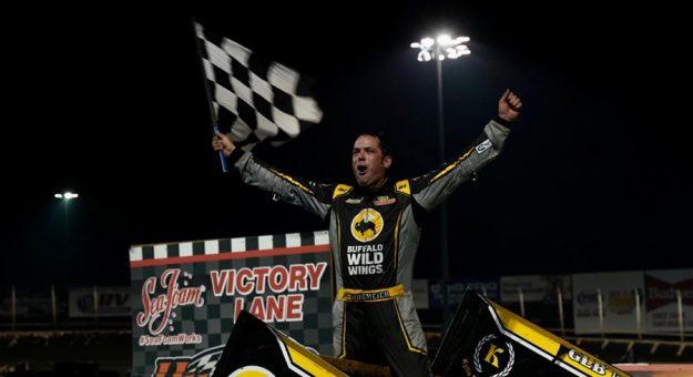 Mark Dobmeier in victory lane Sunday at Huset's Speedway. (Tylan Porath Photo)
