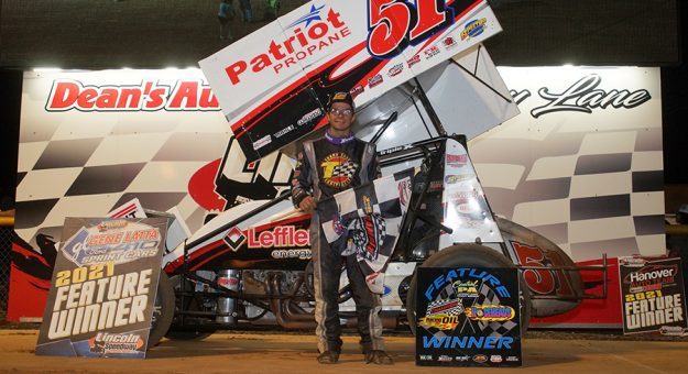 Freddie Rahmer in victory lane at Lincoln Speedway.