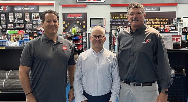 SPEED SPORT's Ralph Sheheen (left) with Patrick McHenry (center) and SRI Performance's Greg Fornelli.