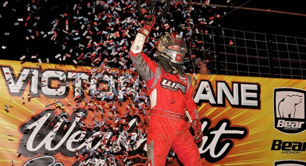 Daison Pursley in victory lane Wednesday at Action Track USA. (Dan Demarco Photo)