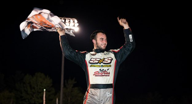 Chase Dowling in victory lane at Monadnock Speedway. (Tom Morris Photo)