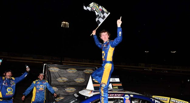 Jesse Love celebrates his victory Saturday at Irwindale Speedway. (Steve Himelstein Photo)