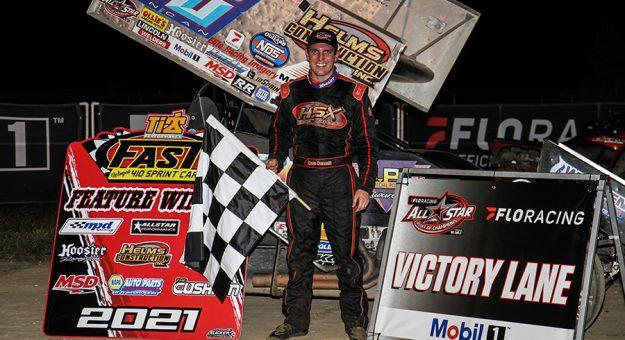 Cole Duncan in victory lane at Waynesfield Raceway Park. (Wayne Riegle Photo)