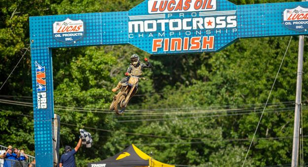 Dylan Ferrandis used a tiebreaker to win Saturday's Lucas Oil Pro Motocross race at Budds Creek Motocross Park. (Align Media Photo)