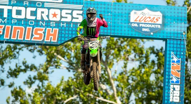 Eli Tomac earned his first Lucas Oil Pro Motocross win of the season Saturday at Ironman Raceway. (Align Media Photo)
